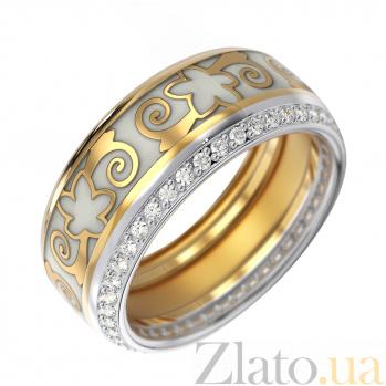 Золотое обручальное кольцо Кэйт в комбинированном цвете с бриллиантами и белой эмалью VLA--15920