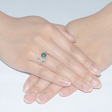 Серебряное кольцо с зелёным агатом Яна