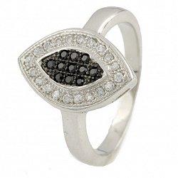 Серебряное кольцо День и ночь с фианитами
