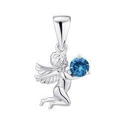 Срібний кулон-ангел із синьою шпінеллю та родіюванням 000134768