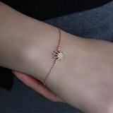 Золотой браслет на ногу с фианитами Корона, размер 24-26см
