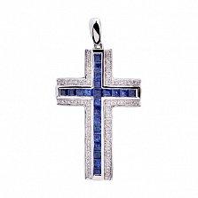 Крест в белом золоте Молитва с сапфирами и бриллиантами