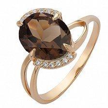 Золотое кольцо Белинда с раухтопазом и цирконием
