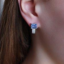 Серебряные серьги Аурелия с голубым кварцем и фианитами
