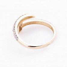 Золотое кольцо Маленький гвоздик с усыпкой фианитов в стиле Картье