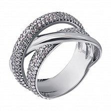Золотое кольцо в белом цвете Мелисса с фианитами