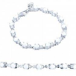Серебряный браслет Сабрина с белым агатом и фианитами