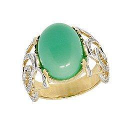 Золотое кольцо в жёлтом цвете с бриллиантами и хризопразом 000021531