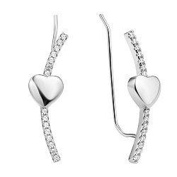 Серебряные каффы Линия сердца с фианитами