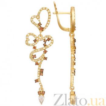 Золотые серьги с цирконием Сальма VLT--ТТ2326