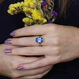 Серебряное кольцо Венди с кварцем цвета танзанит