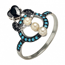 Серебряное кольцо Ночное рандеву Марилена