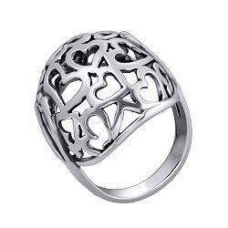 Серебряное ажурное кольцо Любимое в форме полусферы