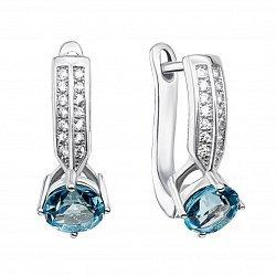 Серебряные серьги с голубыми топазами и фианитами 000134899