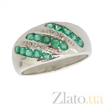 Серебряное кольцо с бриллиантами и изумрудами Беатрис ZMX--RDE-6133-Ag_K