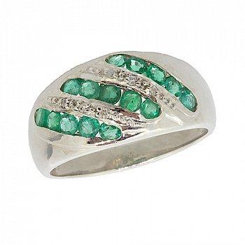 Серебряное кольцо с бриллиантами и изумрудами 000022187