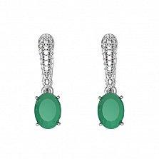 Серебряные серьги-подвески Бриджит с зелеными агатами и фианитами