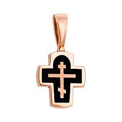 Православный крестик из красного золота с черной эмалью 000126043
