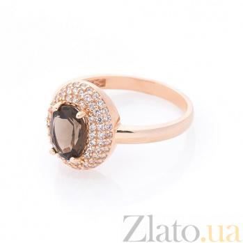 Золотое кольцо Майя в красном цвете с раухтопазом и фианитами 000082325