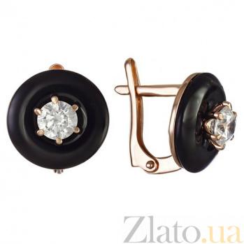 Золотые серьги с агатами и фианитами Полнолуние TNG--459282