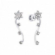 Серебряные пуссеты-каффы Эдельвейс с белыми фианитами