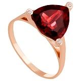 Золотое кольцо Хлоя с гранатом и фианитами