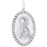 Серебряная ладанка Матерь Божья с кристаллами циркония