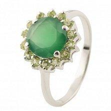 Серебряное кольцо Изабель с зеленым агатом и хризолитом