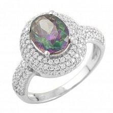 Серебряное кольцо Отблеск заката с топазом мистик и фианитами