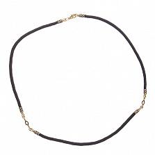 Шнурок Элиас  шелковый с серебряной застежкой и позолотой