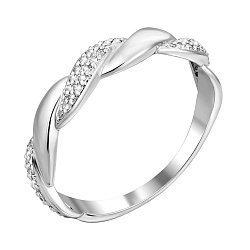 Кольцо из белого золота с бриллиантами и имитацией плетения 000140671