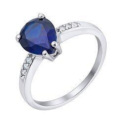 Серебряное кольцо с синтезированным сапфиром и фианитами 000063221