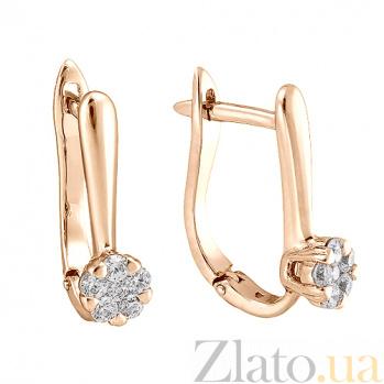 Золотые серьги с цирконием Эльфия 000023060