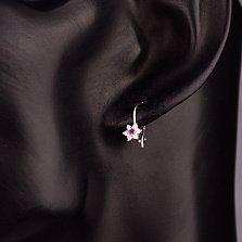 Серебряные серьги Лютики с розовыми и белыми фианитами