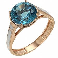 Золотое кольцо Алана с голубым топазом и эмалью