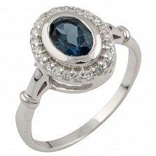 Кольцо из серебра Николина с топазом лондон и фианитами