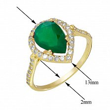 Золотое кольцо Виктория в желтом цвете с зеленым ониксом и фианитами