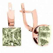 Золотые серьги Ирма с зелеными аметистами