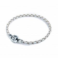 Кожаный браслет Стиль с серебряной застежкой