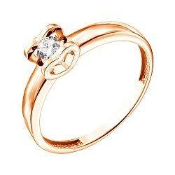 Кольцо из красного золота с бриллиантом 000139277