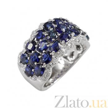 Золотое кольцо с сапфирами и бриллиантами Аквариум 000026880
