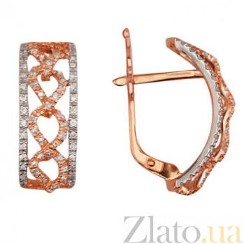 Золотые серьги с цирконием Фернанда VLT--ТТТ2231-2