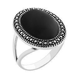 Серебряное кольцо Эльвира с имитацией оникса и чернением 000066647
