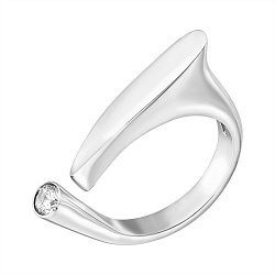 Серебряное разомкнутое кольцо Восклицательный знак с белым фианитом