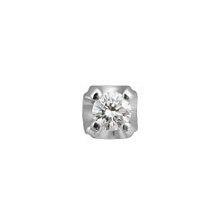 Золотая сережка-пуссета Ирма в белом цвете с бриллиантом