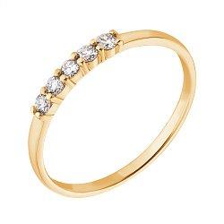 Золотое кольцо в желтом цвете с пятью бриллиантами 000070555
