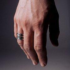 Кольцо-антистресс из серебра Hedera helix с подвижной золотой накладкой и чернением