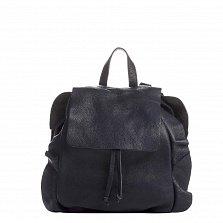 Кожаный рюкзак Genuine Leather 8804 темно-синего цвета на кулиске, с клапаном и оборками