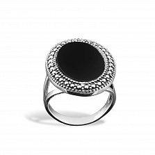 Серебряное кольцо Эльвира с имитацией оникса и чернением