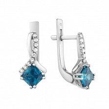Серебряные серьги Кассиопея с голубыми и белыми фианитами